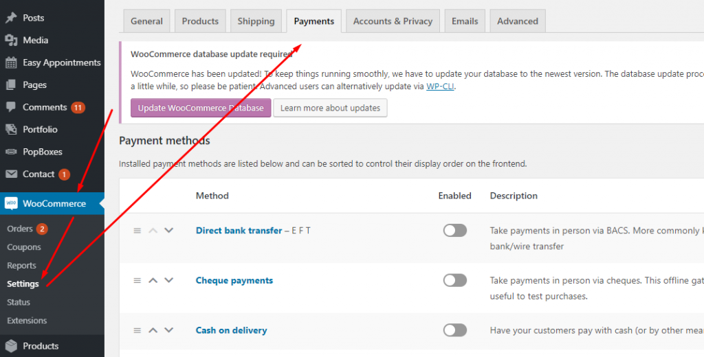 Click on Payments in WordPress