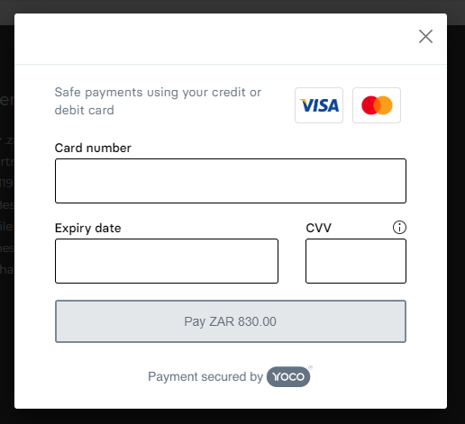 Yoco payment gateway popup window