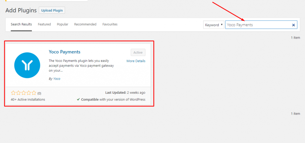 Search for the Yoco Payment Gateway in WordPress